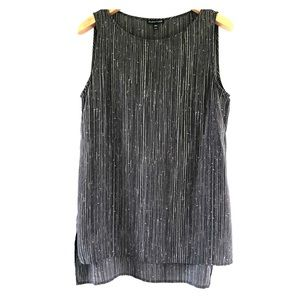 Eileen Fisher silk blouse tank long top gray M